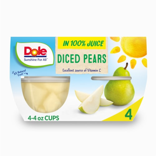 Dole Diced Pears in 100% Fruit Juice Cups Perspective: front