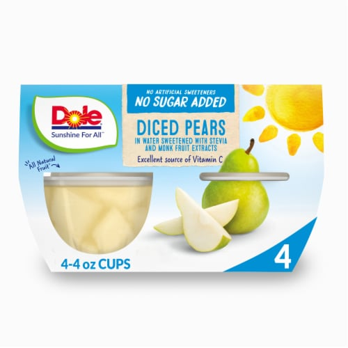 Dole No Sugar Added Diced Pear Cups Perspective: front