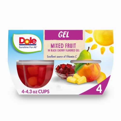 Dole Mixed Fruit in Black Cherry Flavored Gel Cups Perspective: front
