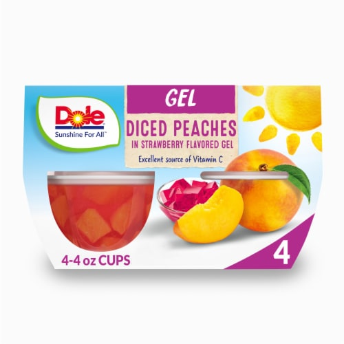 Dole Peaches in Strawberry Flavored Gel Perspective: front