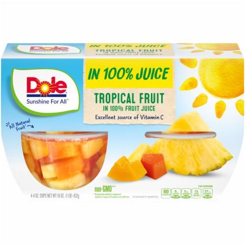 Dole Tropical Fruit Cups in 100% Fruit Juice Perspective: front