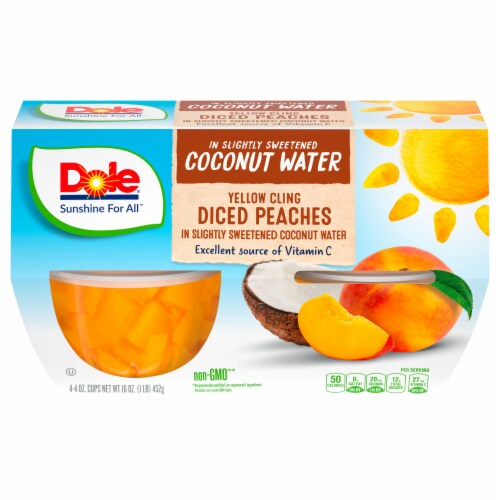 Dole Diced Peaches in Sweetened Coconut Water Perspective: front