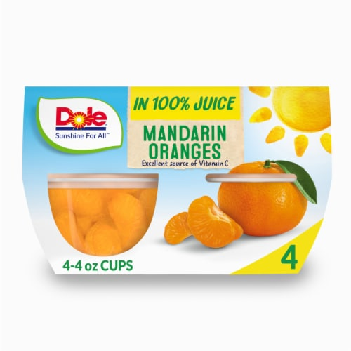 Dole Mandarin Oranges in 100% Fruit Juice Cups Perspective: front