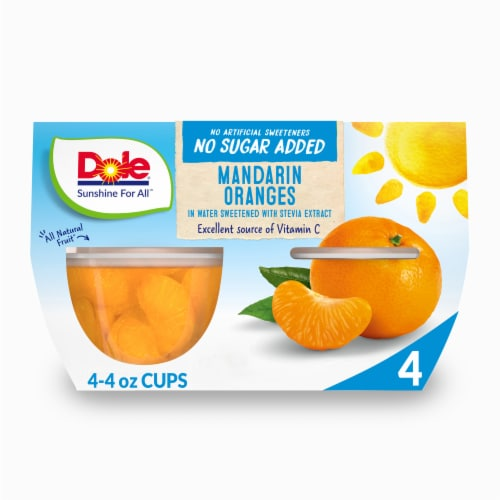 Dole Mandarin Oranges No Sugar Added Fruit Cups Perspective: front