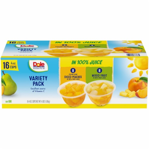 Dole Diced Peaches & Mixed Fruit in 100% Fruit Juice Cups Perspective: front