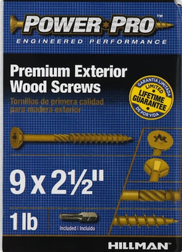 Hillman Power Pro Premium Exterior Wood Screws Perspective: front