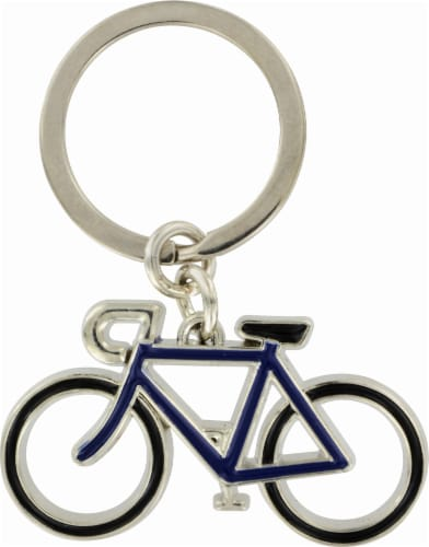 Axxess Metal Bicycle Key Chain - Silver/Black Perspective: front