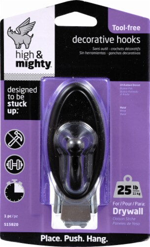 High & Mighty 25-Pound Oval Decorative Hook - Oil Rubbed Bronze Perspective: front