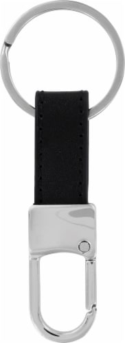 Hillman Leather Key Chain - Black/Silver Perspective: front
