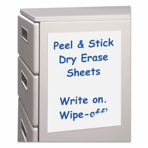 C-Line Peel and Stick Dry Erase Sheets, 8 1/2 X 11, White, 25 Sheets/Box 57911 Perspective: front