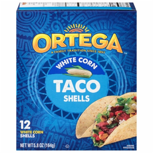 Ortega White Corn Taco Shells 12 Count Perspective: front