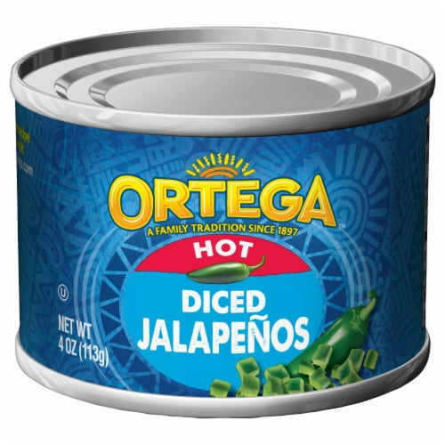Ortega Hot Diced Jalapenos Perspective: front