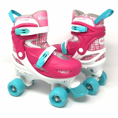 Chicago Skates CRS138G-M Pink & White Medium Girls Quad Roller Skates Combo with Protective G Perspective: front