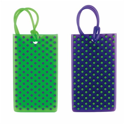 Travel Smart Printed Jelly Tags - Green / Blue Perspective: front