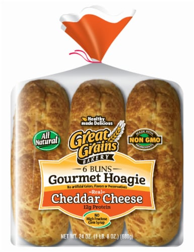 Great Grains Rustic Hoagie Cheddar Cheese Buns Perspective: front