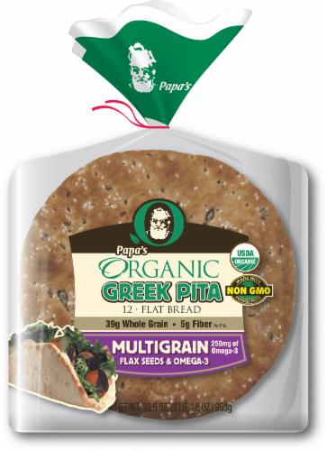 Papa's Organic Multigrain Greek Pita Bread Perspective: front