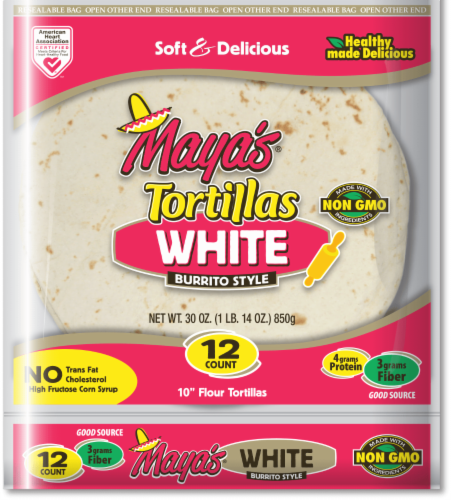 """Maya's 10"""" White Burrito Style Tortillas Perspective: front"""