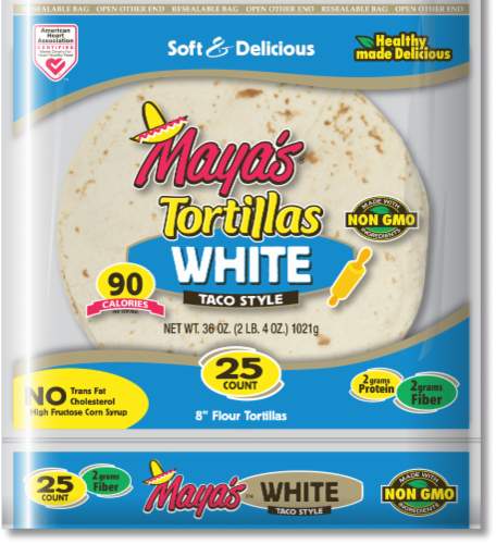Maya's White Taco Style Tortillas Perspective: front