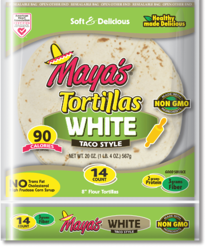 """Maya's 8"""" White Taco Style Tortillas Perspective: front"""