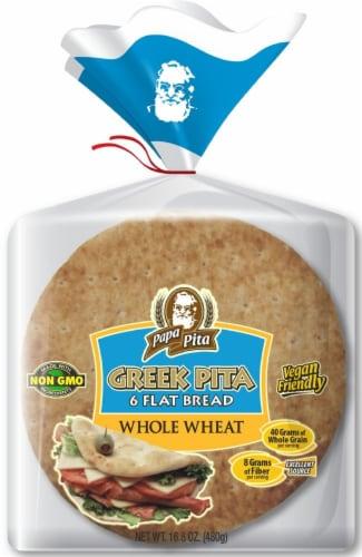 Papa Pita 100% Whole Wheat Greek Pita Flat Bread Perspective: front