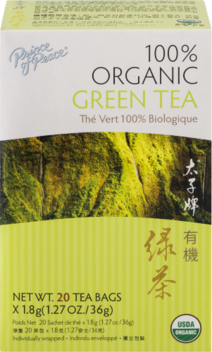 Prince of Peace 100% Organic Green Tea Bags Perspective: front