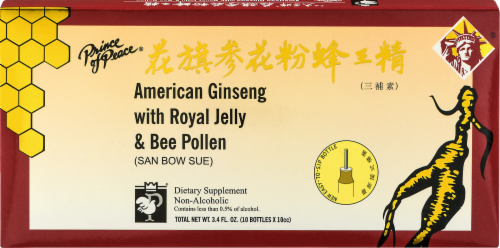 Prince of Peace American Ginseng with Royal Jelly & Bee Pollen Dietary Supplement Perspective: front