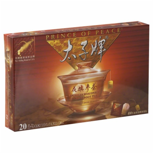 Prince of Peace American Wisconsin Ginseng Root Tea Perspective: front
