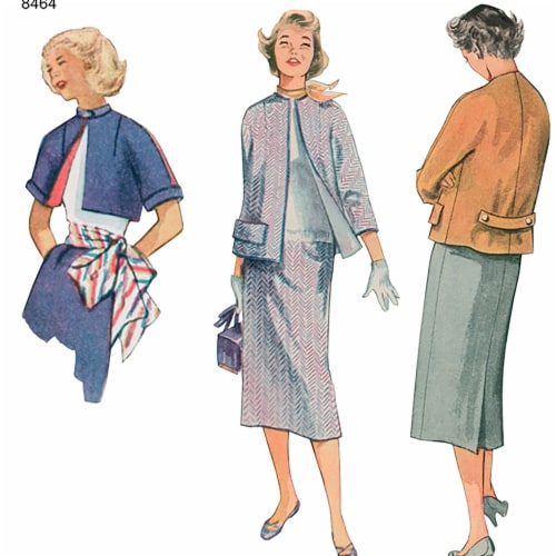 Simplicity Patterns US8464H5 Misses Vintage Skirt & Lined Jacket in Two Lengths Pattern Perspective: front