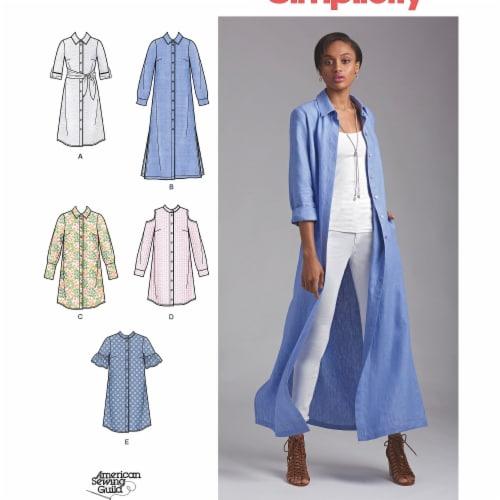 Simplicity Patterns US8546H5 Misses & Miss Petite Shirt Dresses Pattern Perspective: front