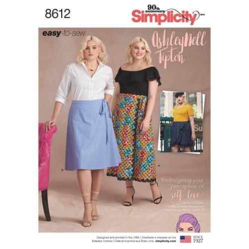 Simplicity Plus Size Wrap Skirts-18W-20W-22W-24W-26W Perspective: front