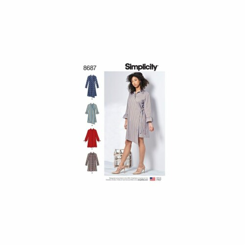 Simplicity Patterns US8687AA Misses & Womens Shirt Dresses Pattern Perspective: front