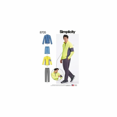 Simplicity Patterns US8705A Mens Pants, Shorts & Knit Pullover Top Pattern Perspective: front