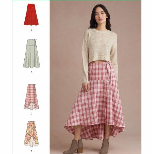 Simplicity US8958K5 Sewing Pattern Womens Wrap Skirts, Size K5 Perspective: front