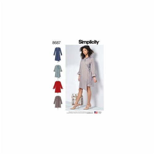 Simplicity Patterns US8687BB Misses Womens Shirt Dresses Pattern, BB - 20W-28W Perspective: front