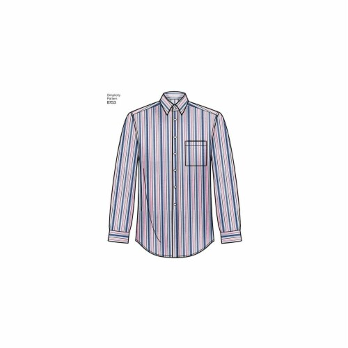 Simplicity Patterns US8753BB Mens Classic, Modern & Slim-Fit Shirt Pattern, BB - 44-46-48-50- Perspective: front