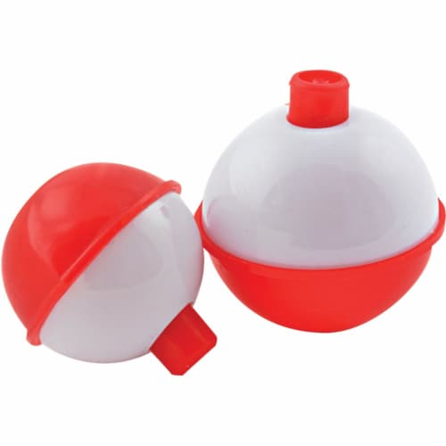 South Bend Red/White Push-Button Fishing Bobber Floats Perspective: front