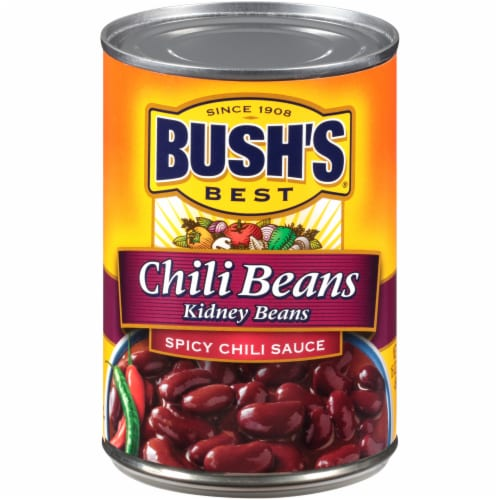 Bush's Best Chili Kidney Beans in Spicy Chili Sauce Perspective: front
