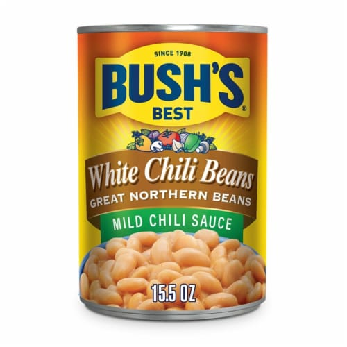Bush's Best White Chili Beans in Mild Chili Sauce Perspective: front
