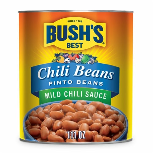Bush's Best Mild Sauce Canned Pinto Chili Beans Perspective: front