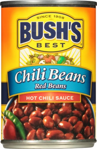 Bush's Best Red Chili Beans in Hot Chili Sauce Perspective: front