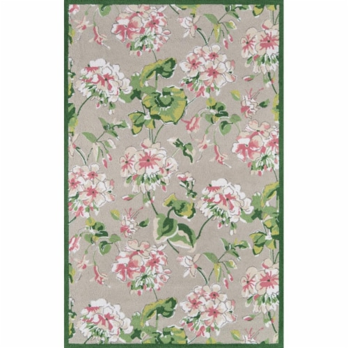 Madcap Cottage SUMMESMM-2GRY2680 2 ft. 6 in. x 8 ft. Summer Garden-2 Hand Hooked Runner Rug - Perspective: front