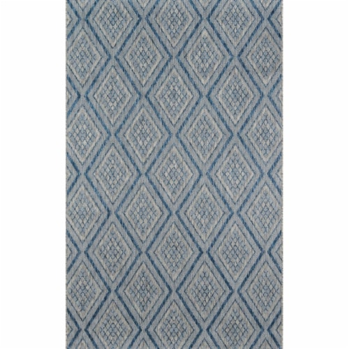 Madcap Cottage LAKEPLAK-1BLU2776 2 ft. 7 in. x 7 ft. 6 in. Lakep-1 Runner Rug - Blue Perspective: front