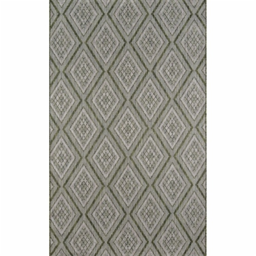 Madcap Cottage LAKEPLAK-1GRN2776 2 ft. 7 in. x 7 ft. 6 in. Lakep-1 Runner Rug - Green Perspective: front