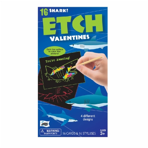 Mello Smello Shark Etch Valentine Card Kit Perspective: front