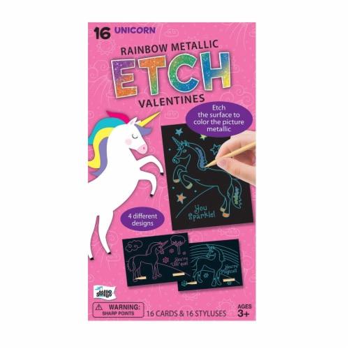 Mello Smello Unicorn Etch Rainbow Metallic Valentine Card Kit Perspective: front