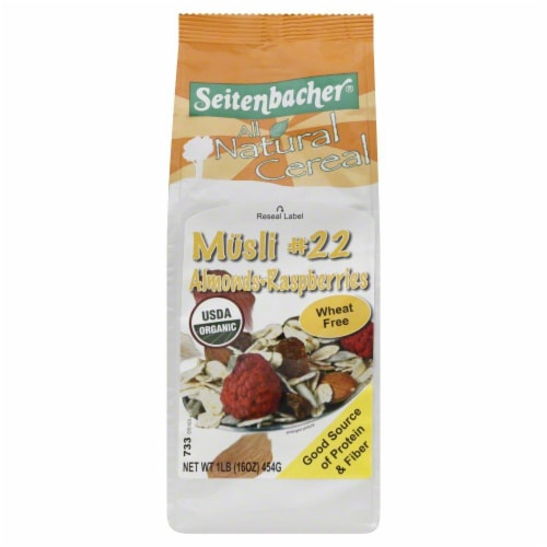 Seitenbacher All Natural Cereal Musli #22 Almonds-Raspberries Perspective: front
