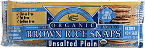 Edward & Sons Organic Unsalted Plain Brown Rice Snaps Perspective: front