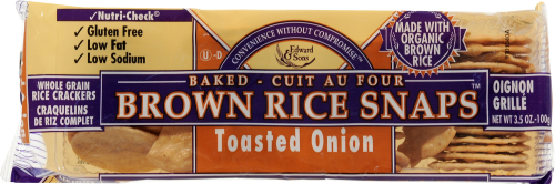 Edward & Sons Organic Toasted Onion Brown Rice Snaps Perspective: front