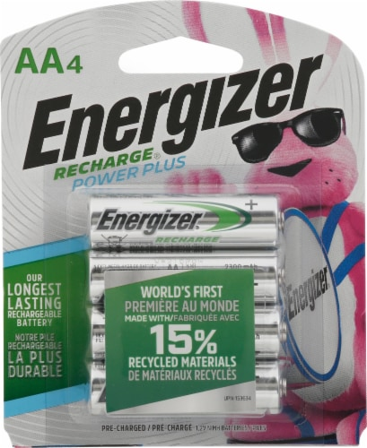 Energizer Recharge® AA Batteries Perspective: front