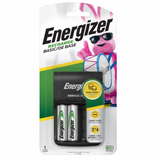Energizer® Recharge Basic Charger with AA Batteries Perspective: front